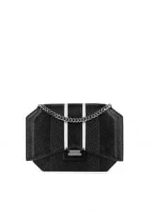 Givenchy Black Contrasted Stripes Ayers Bow-Cut Chain Wallet