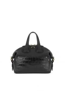 Givenchy Black Embossed Crocodile Patch Nightingale Small Bag