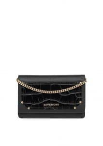 Givenchy Black Embossed Crocodile Patch Pandora Chain Wallet
