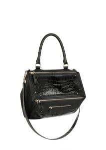 Givenchy Black Embossed Crocodile Patch Pandora Medium Bag