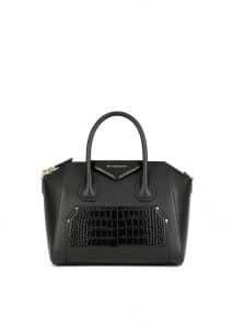 Givenchy Black Embossed Crocodile Patch Small Antigona Bag