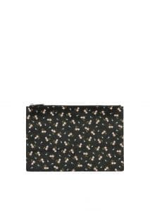 Givenchy Black/Pink Hibiscus Print Flat Pouch Large Bag