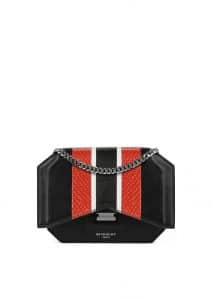 Givenchy Black/Red Leather with Exotic Stripes Bow-Cut Chain Wallet
