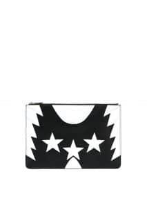 Givenchy Black/White Stars/Wings Print Pandora Flat Pouch Bag