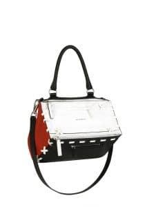 Givenchy Black/White/Red with Oversize Stitchings Pandora Medium Bag