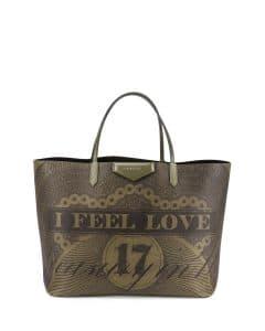 Givenchy Khaki Dollar-Print Canvas Antigona Tote Bag