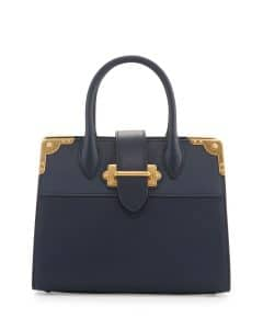 Prada Baltico Leather Trunk Tote Bag