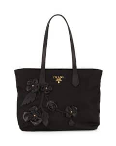 Prada Black Flowers Tessuto Medium Shopping Tote Bag