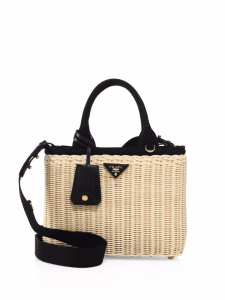 Prada Black Midollino Wicker & Canvas Tote Bag