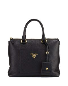Prada Black Pebbled Leather Daino Zip Tote Bag