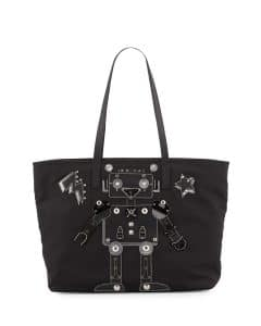 Prada Black Robot Nylon Medium Tote Bag