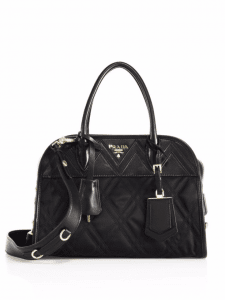 Prada Black Tessuto Impunturato Satchel Bag