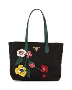 Prada Black/Multicolor Flowers Tessuto Medium Shopping Tote Bag