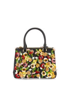 Prada Black/Multicolor Garden Saffiano Double-Zip Small Galleria Bag