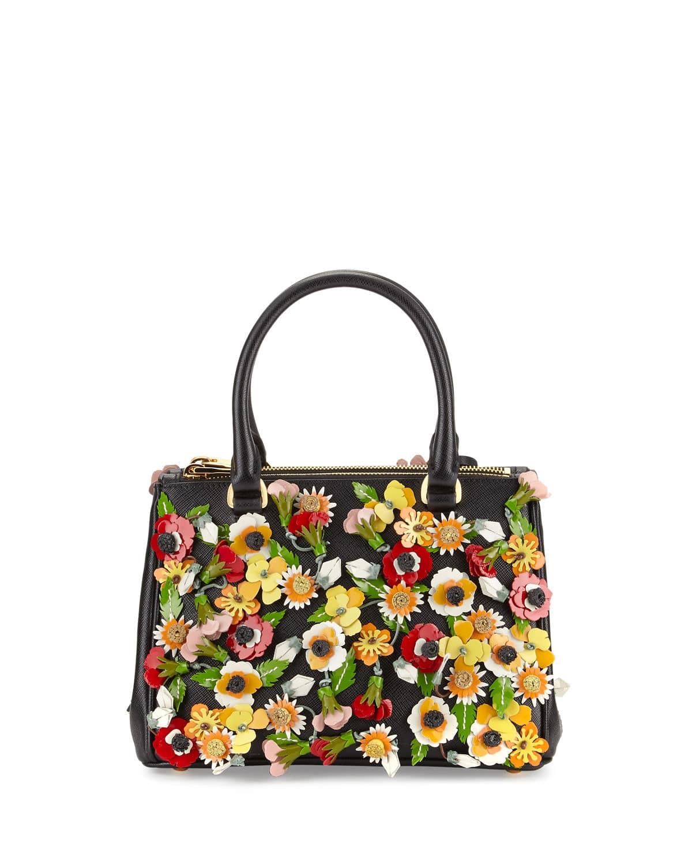 Prada Black Multicolor Garden Saffiano Double Zip Small Galleria Bag