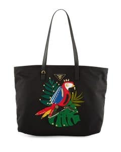 Prada Black/Multicolor Parrot Tessuto Medium Shopping Tote Bag