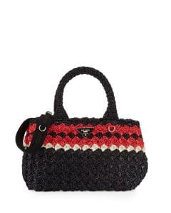 Prada Black/Red Raffia Giardiniera East-West Tote Bag