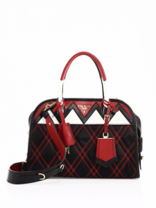 Prada Black/Red Tessuto Impunturato Satchel Bag