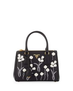 Prada Black/White Floral Saffiano Double-Zip Mini Galleria Bag