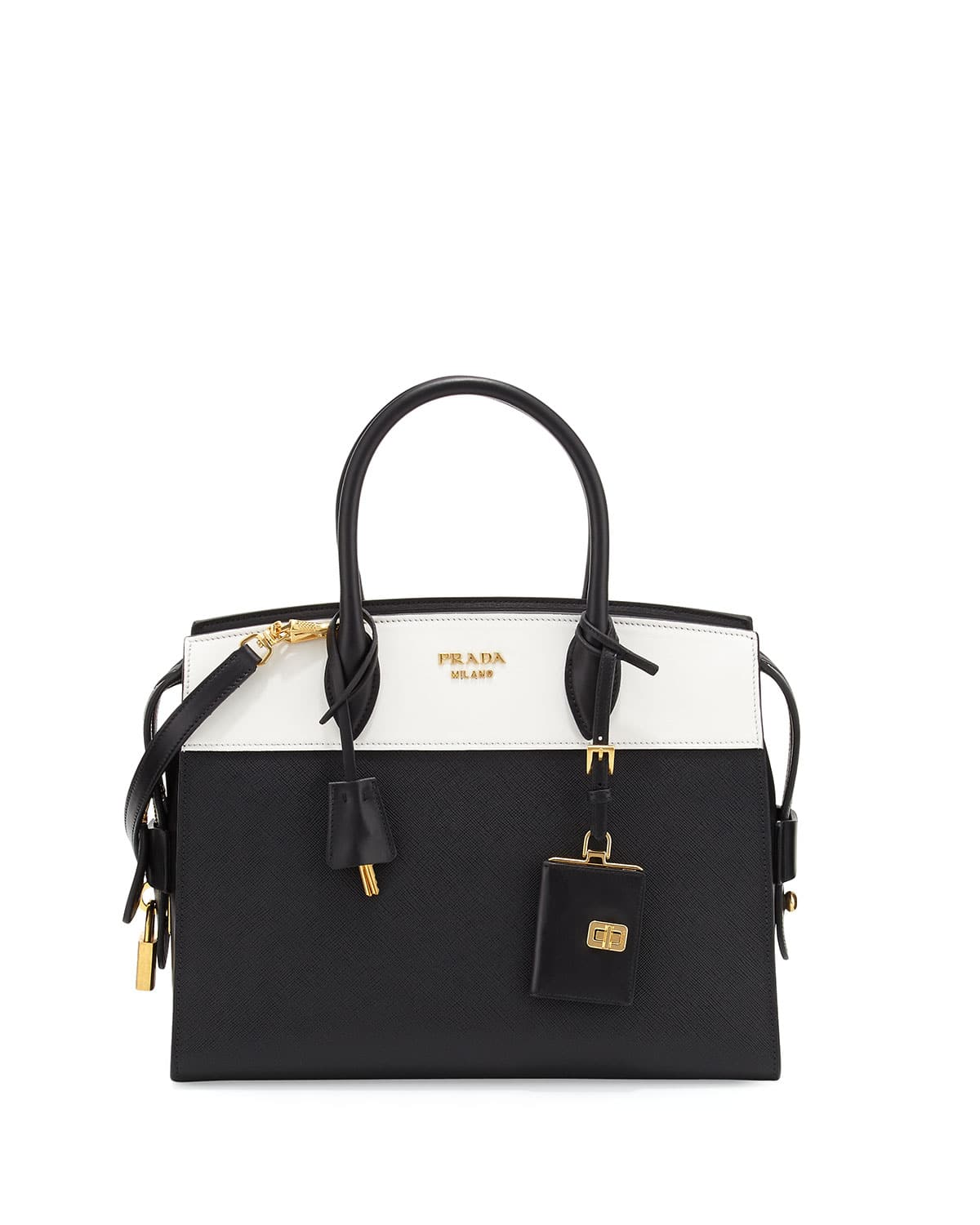Prada Black White Medium Esplanade Bag