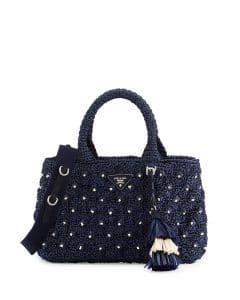 Prada Blue Raffia Tote Bag