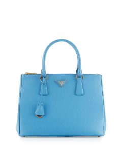 Prada Blue Saffiano Double-Zip Galleria Bag
