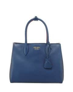 Prada Blue/Black/Red Bibliotheque Medium Bag