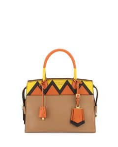 Prada Caramel/Orange Greca Medium Esplanade Bag