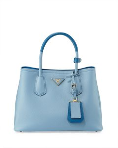 Prada Light Blue/Dark Blue Mini Double Tote Bag