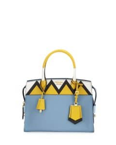 Prada Light Blue/Yellow Greca Medium Esplanade Bag