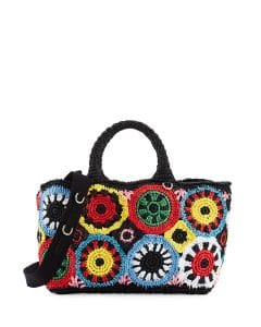 Prada Multicolor Raffia Circle Tote Bag
