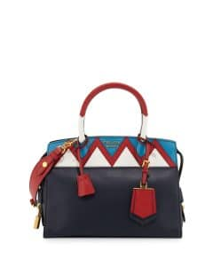 Prada Navy/Red/White Greca Medium Esplanade Bag