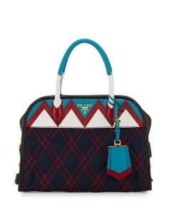 Prada Navy/Red/White Tessuto Impunturato Satchel Bag