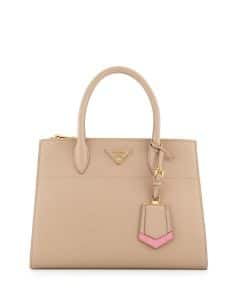 Prada Nude/Pink/White Greca Saffiano Double-Zip Medium Galleria Bag