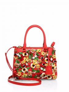 Prada Red Garden Saffiano Double-Zip Small Galleria Bag