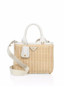 Prada White Midollino Wicker & Canvas Tote Bag