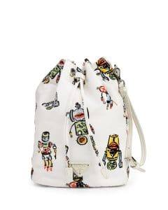 Prada White Tessuto Robot Bucket Bag