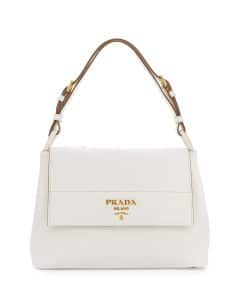 Prada White Vitello Daino Shoulder Bag