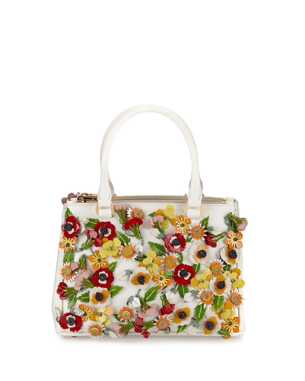 d33b14731fdfa3 Prada White/Multicolor Garden Saffiano Double-Zip Small Galleria Bag