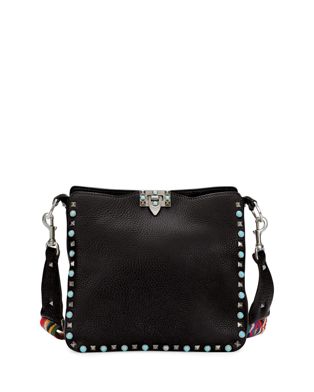 cb98624f8 Valentino Black Flip-Lock Rockstud Rolling Medium Messenger Bag