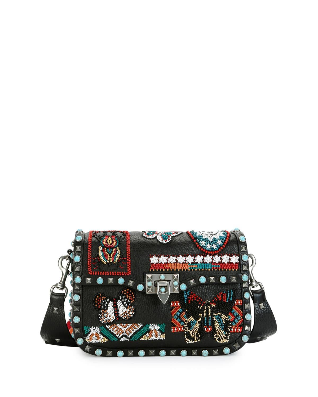 c304dbbf63 Valentino Multicolor Beaded-Patch Rockstud Rolling Medium Shoulder Bag