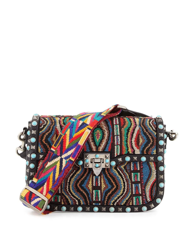 Valentino Multicolor Beaded Rockstud Rolling Medium Shoulder Bag