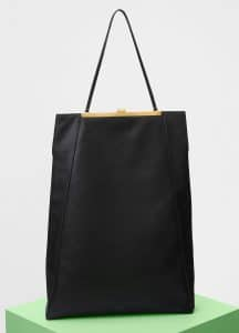 Celine Black Smooth Calfskin Cabas Clasp Bag