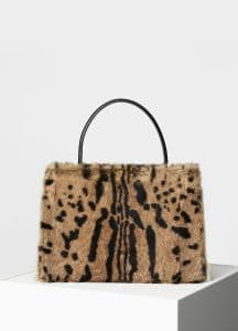 Celine Black/Brown Printed Fur Medium Clasp Bag