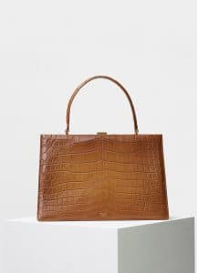 Celine Blonde Crocodile Medium Clasp Bag