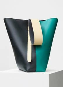 Celine Cactus/Marble Green Shiny Smooth Calfskin Small Twisted Cabas Bag