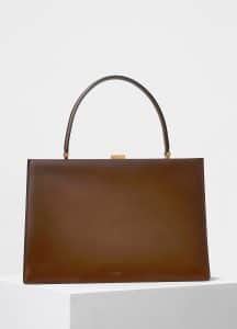 Celine Camel Box Calfskin Medium Clasp Bag