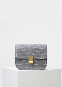 Celine Grey Contrasted Crocodile Medium Classic Box Bag