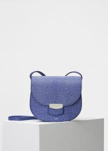Celine Inky Blue Bicolor Goatskin Small Trotteur Shoulder Bag