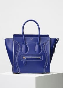 Celine Inky Blue Satin Calfskin Micro Debossed Luggage Bag